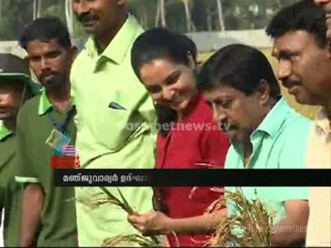Manju Warrier inaugurating Sreenivasan's paddy fields in Ernakulam