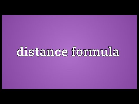 Distance formula Meaning