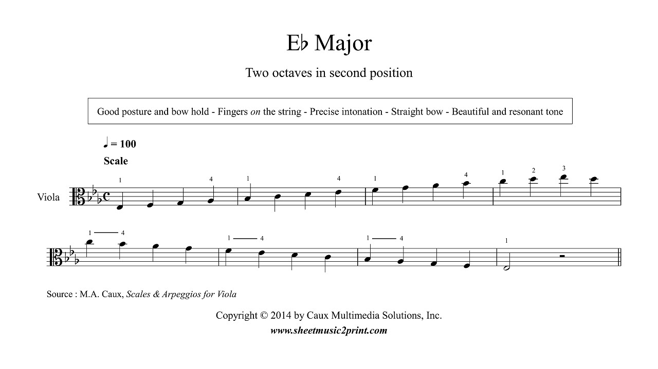 b Flat Major Scale Violin Viola e Flat Major Scale