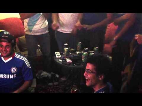 Chelsea's Supporters in Egypt reaction to Torres' goal against Benfica (EUROPA LEAGUE FINAL)
