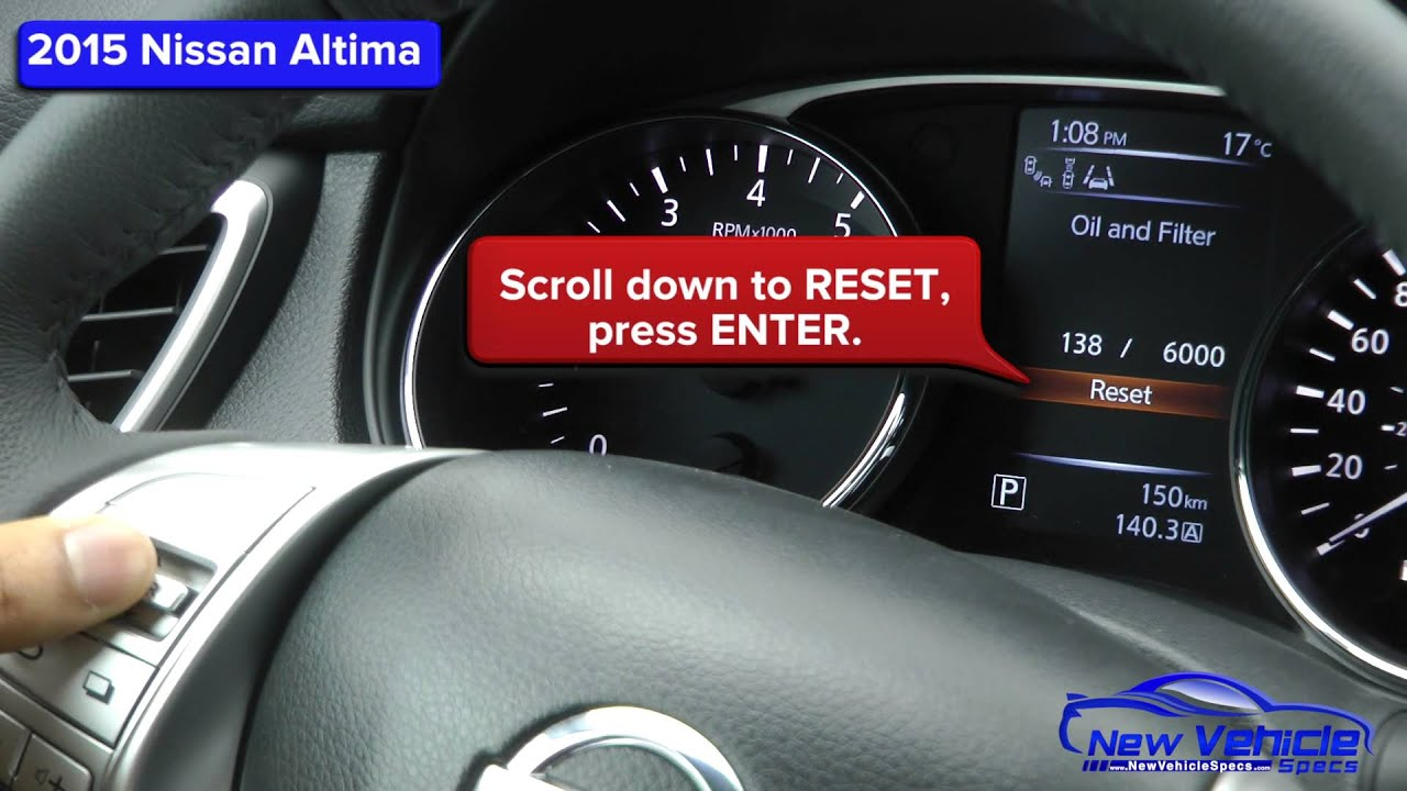 2015 nissan altima oil light reset service light reset