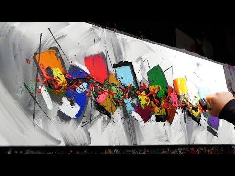 Abstract Painting Demo Acrylics using brush, knife - Milium - John Beckley