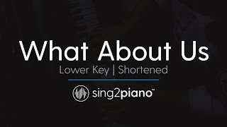 download musica What About Us Shortened LOWER Piano Karaoke Pnk