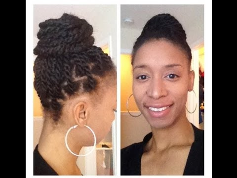 Weave Bun - with Faux Senegalese Twists (Natural Hair Tutorial)