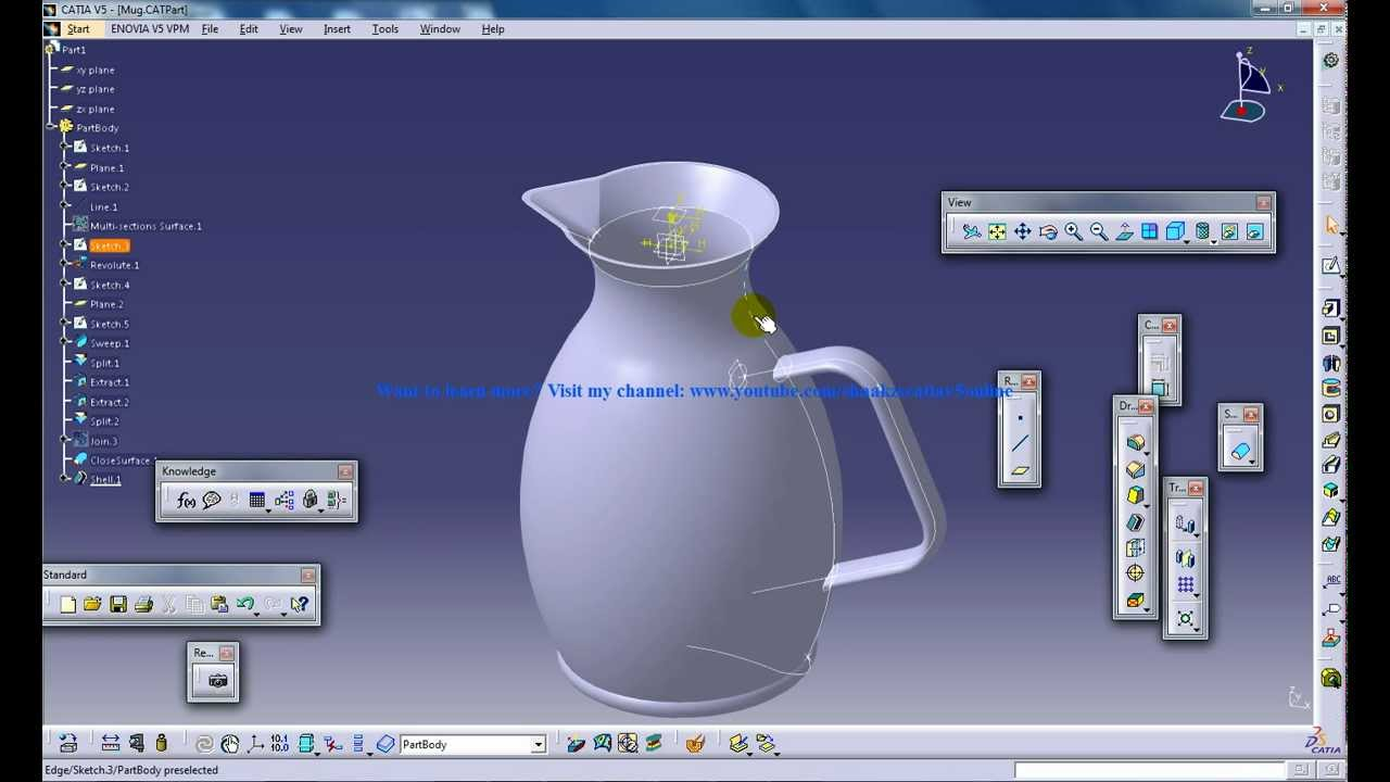 Catia V5 Tutorials Wireframe And Surface Design Rebuild A