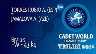 BRONZE FW - 43 kg: A. JAMALOVA (AZE) df. A. TORRES RUBIO (ESP), 4-2
