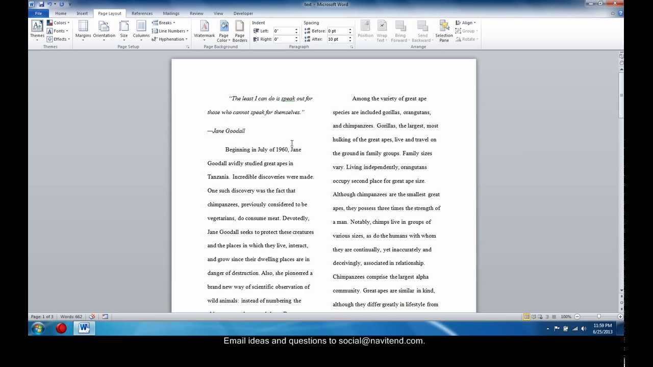 use multiple columns in word