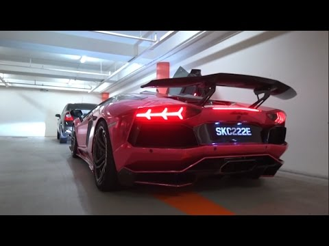 LOUD Chrome Pink LB Lamborghini Aventador in Underground Carpark - Startup, Revs and acceleration!