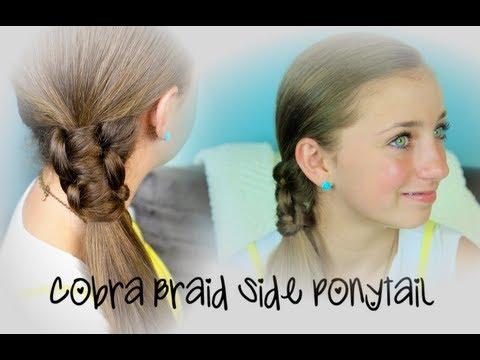 Cute Braided Side Ponytail Cobra Braid Side Ponytail