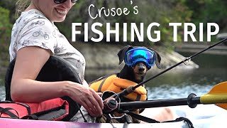 Crusoe the Dachshund's Fishing Trip on his own PRIVATE LAKE
