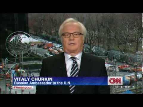 Russia's Ambassador to the U.N., Vitaly Churkin gives an interview to the CNN