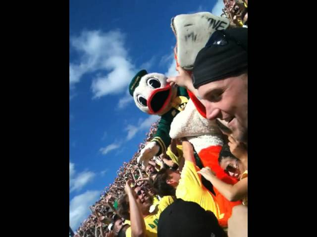 Puddles (The Duck) Goes Crowd Surfing at Autzen Stadium