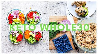 What I Eat in a Day on a Keto Whole30 [salmon salad, spiced pork chops with mushroom gravy]