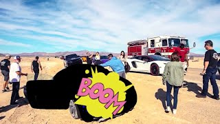 HIGH SPEED CRASH LEAVES CAR DESTROYED IN NEVADA DESERT!