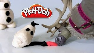 Play-Doh Disney Frozen OLAF Many Faces of Snowman Olaf Using Play Dough DIY Sven Reindeer