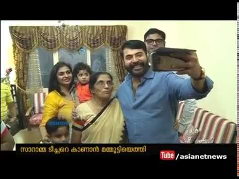 Actor Mammootty Surprise visit to his school teacher Saramma at Dubai