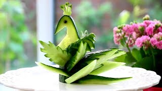 Cucumber Peacock – Fruit Vegetable Carving Garnish | Cucumber Sushi Garnish
