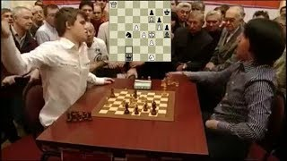 SHOCKING BLUNDER CHECKMATE IN ONE!!! MAGNUS CARLSEN LOSES TO TEIMOUR RADJABOV - BLITZ CHESS 2010
