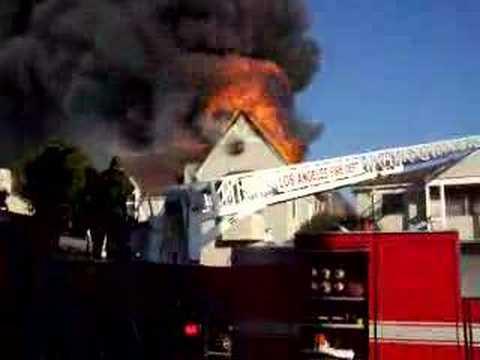LA Fire Department battles the historic Detroit Street blaze