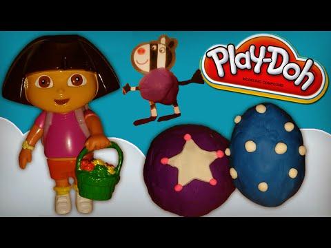 Peppa Pig Rainbow Kinder Surprise Eggs In Play Doh   Playdough & Dora The Explorer video