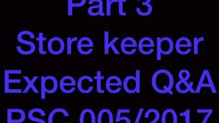 Store keeper psc expected question and answers jan 20 part 3