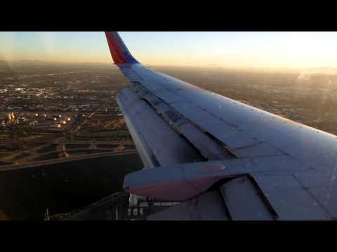 Southwest Airlines 737-300 (Classic) Approach, Flaps, Landing, and Taxi to Gate in PHX