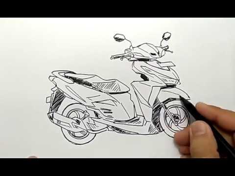 cara menggambar motor bebek matic vario dengan mudah #1