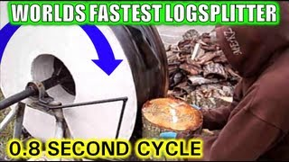 WORLDS FASTEST CHEAPEST SIMPLEST LOG SPLITTER SPLITTING WOOD!!!