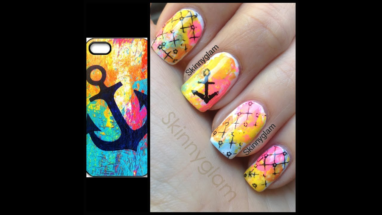 Floral Anchor Nails Anchors Away Nail Art