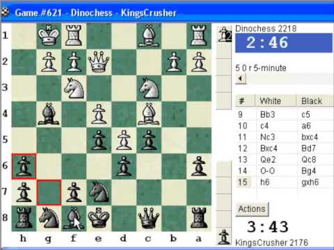 Chessworld.net : Blitz #274 vs Dinochess (2218) - King Pawn Opening : Nimzovich defense (B00)