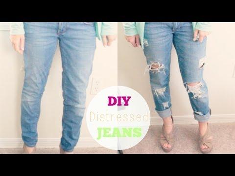 DIY Distressed Boyfriend Jeans | Courtney Lundquist | How ... Diy Distressed Boyfriend Jeans