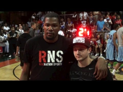 "Brian ""SmokinAces"" Kortovich and Kevin Durant Introduced by Hannibal at Rucker Park 2013!"