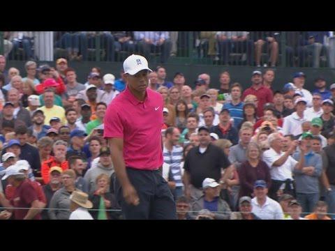 Tiger Woods makes birdie on No. 17 at Waste Management