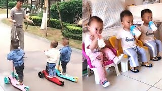 Funny 3 Twin Boy Play With Dad | Funniest Dad And Babies Videos !! Amazing Babies