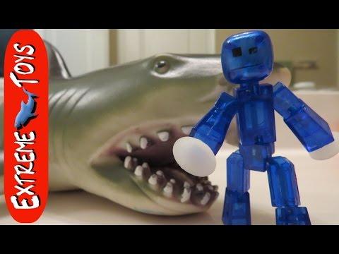 Stikbot Vs  Megalodon Shark Toy 2! The Revenge of the Megalodon