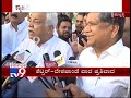War Of Words Between Jagadish Shettar & RV Deshpande During Indira Canteen Inauguration In Hubli
