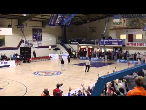 Amazing basketball shot from the halfway line
