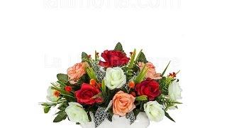 Arreglos florales artificiales. Jardinera cerámica rosas artificiales rojas blancas - La Llimona