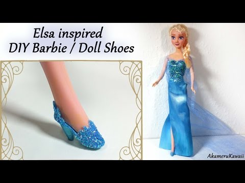 How to; Barbie/Doll Shoes; Elsa inspired (Frozen) Tutorial