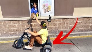 Electric Drift Trike!  (in a Drive Thru)
