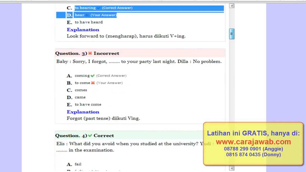 0812 8487 6402 Telkomsel Soal Bahasa Inggris Bank Soal Online Belajar Toefl Gratis Youtube