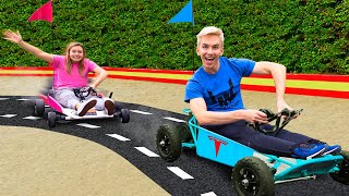 FASTEST ELECTRIC RACE CAR WINS $10,000!! (Ultimate Backyard Obstacle Track)