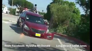 Compton Nigger Beast Do Not Want His Fast Nissan Off By Repo Man-Jumps Tow & Busses Window w/Bar