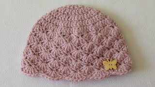 Download How to crochet a cute baby girl's hat for beginners 3Gp Mp4
