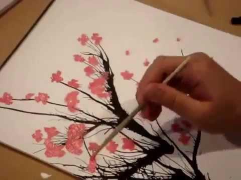 Видео как нарисовать сакуру красками