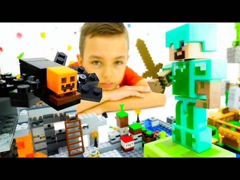 Непростая жизнь Стива в мире Майнкрафта! Игрушки Лего!