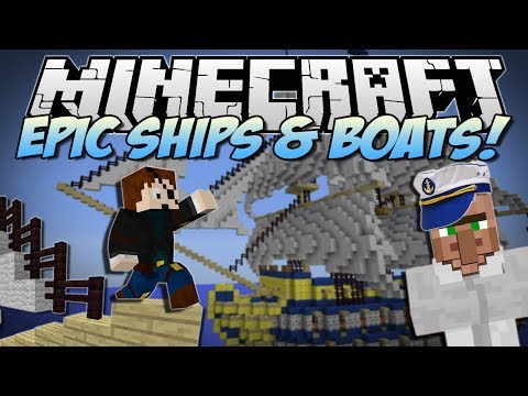 Minecraft   EPIC SHIPS & BOATS! (Turn Anything into a WARSHIP!)   Mod Showcase