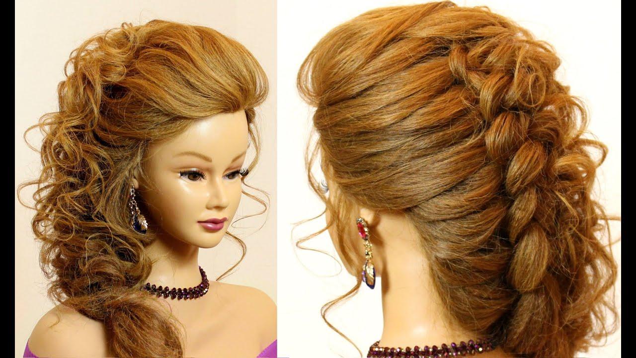 Объемная прическа с плетением на средние волосы фото