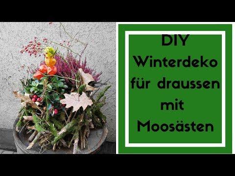 Winter Deko DIY - Deko für draussen selber machen - Moosäste