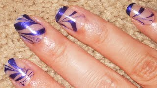Negative space stripes water marble design!